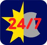 Symbol für 24/7 Service